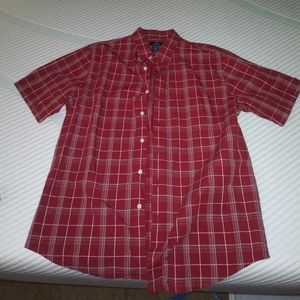 Dockers Red Plaid Short Sleeve - Large 16-16 1/2